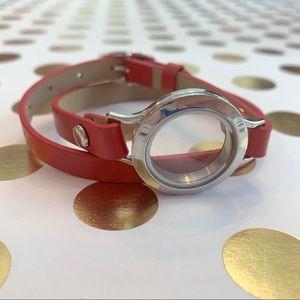 Origami Owl red leather wrap bracelet